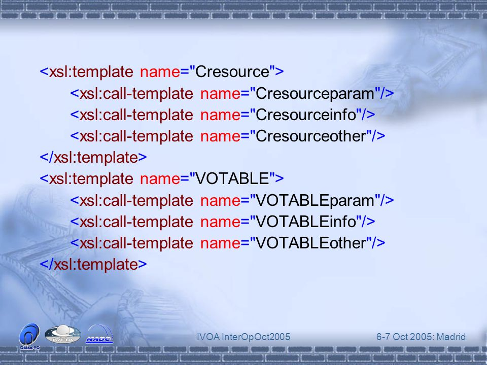 IVOA InterOpOct20056-7 Oct 2005: Madrid This parsing schema is general enough to be used in other transform applications Namespace Problem