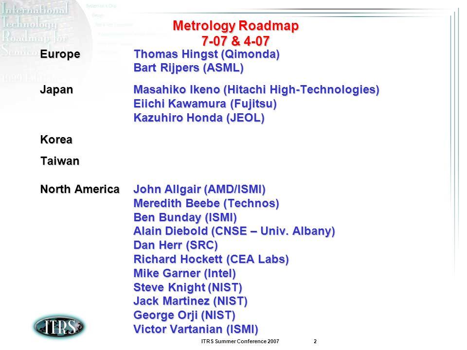 ITRS Summer Conference 2007 2 Metrology Roadmap 7-07 & 4-07 EuropeThomas Hingst (Qimonda) Bart Rijpers (ASML) JapanMasahiko Ikeno (Hitachi High-Techno
