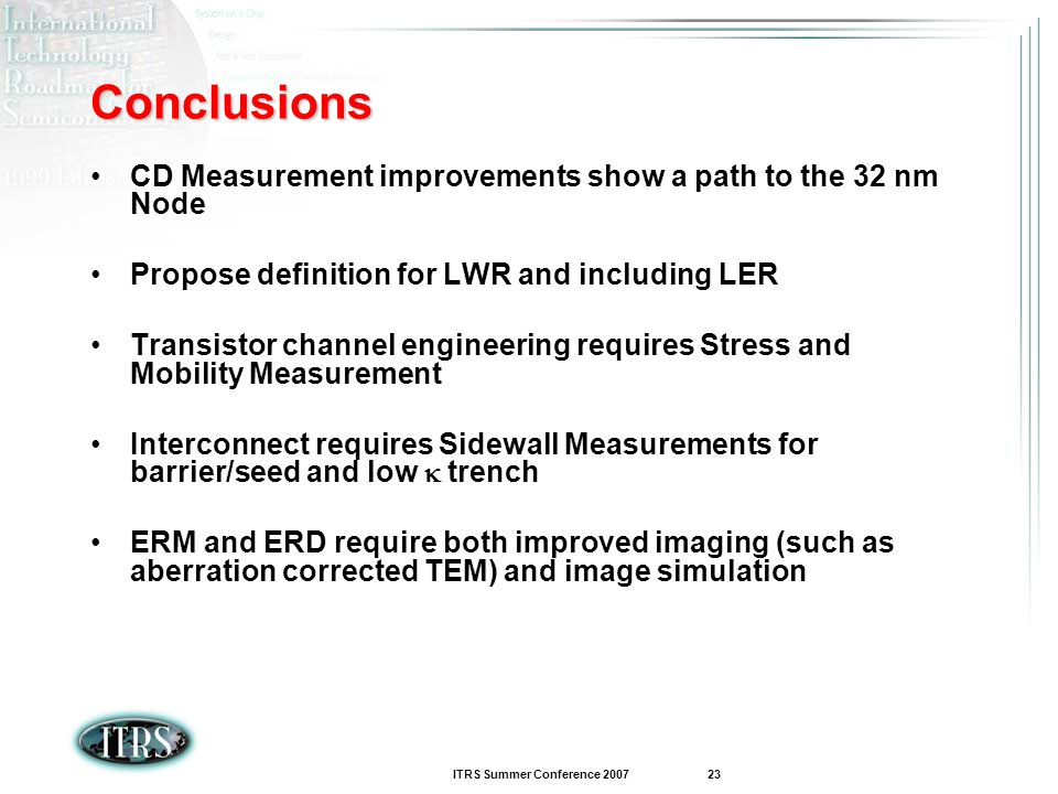 ITRS Summer Conference 2007 23 Conclusions CD Measurement improvements show a path to the 32 nm Node Propose definition for LWR and including LER Tran