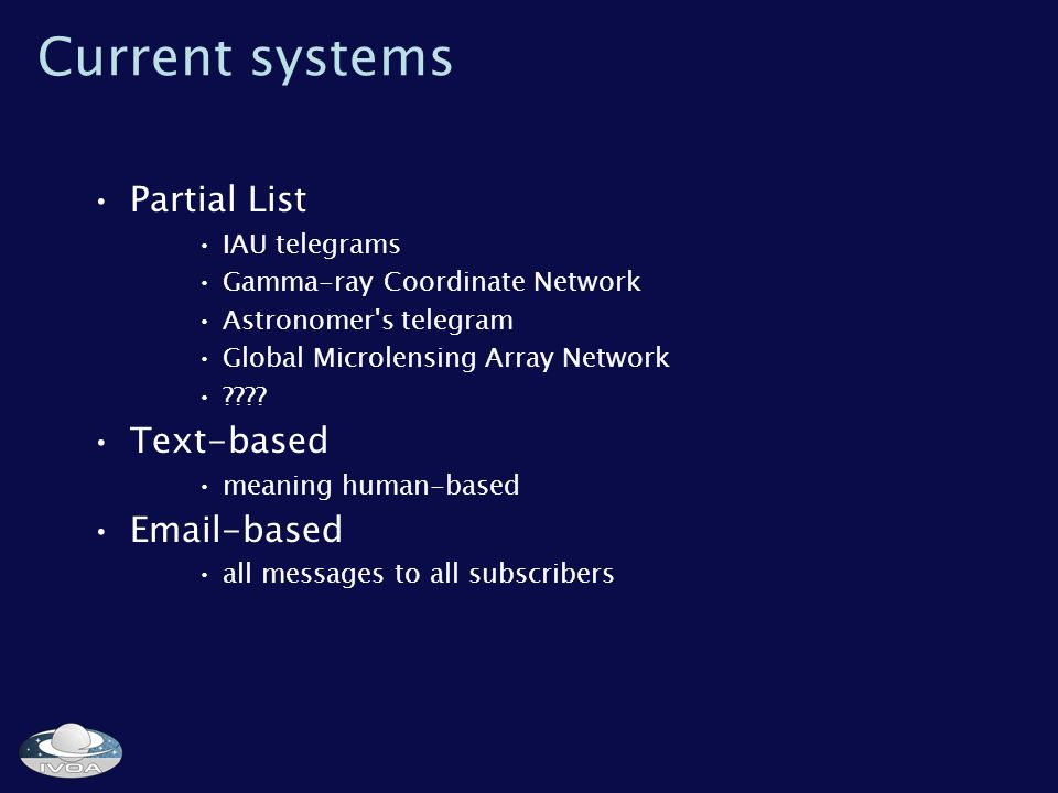 Current systems Partial List IAU telegrams Gamma-ray Coordinate Network Astronomer s telegram Global Microlensing Array Network .