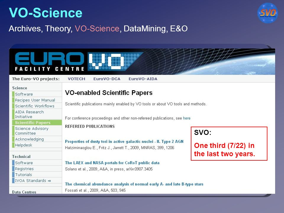 VO-Science Key issue for the Spanish VO.
