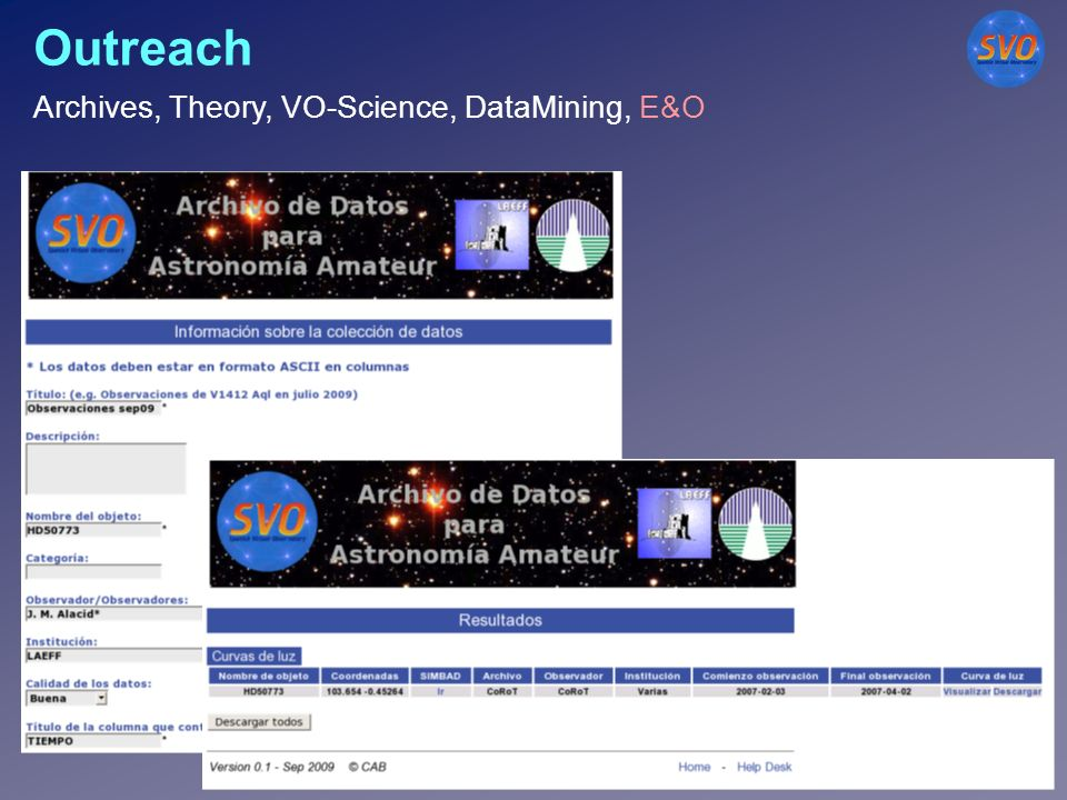 Outreach Archives, Theory, VO-Science, DataMining, E&O