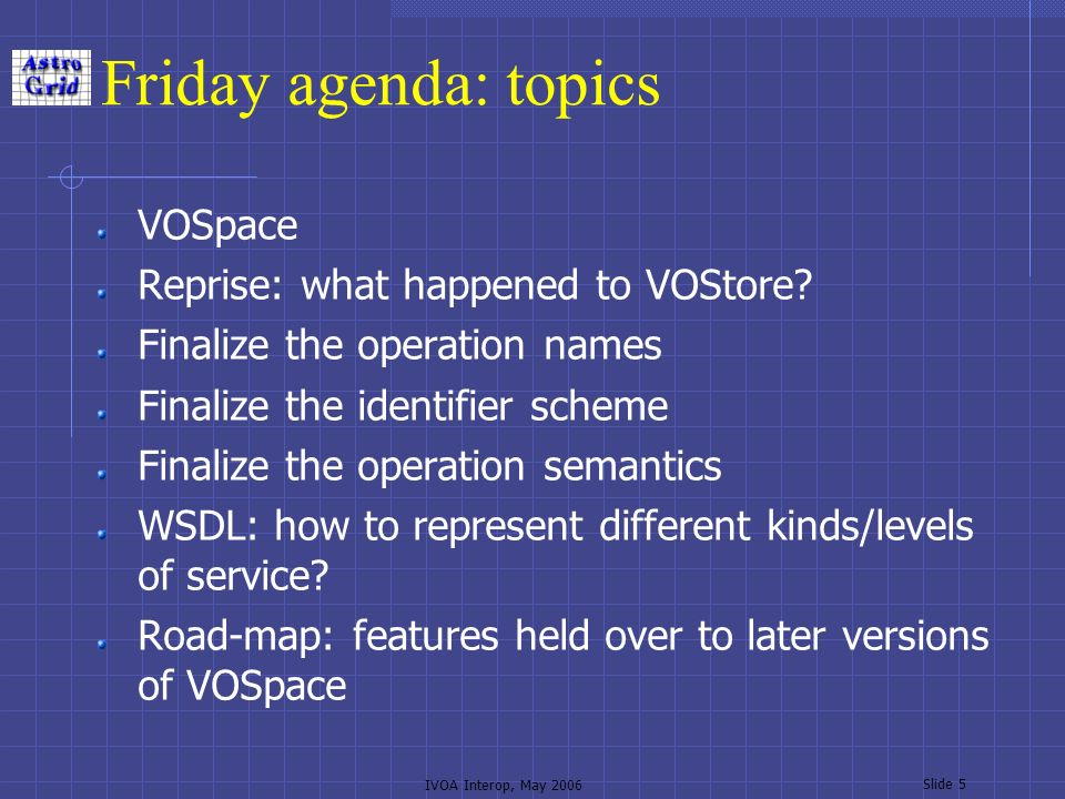 IVOA Interop, May 2006 Slide 5 Friday agenda: topics VOSpace Reprise: what happened to VOStore.