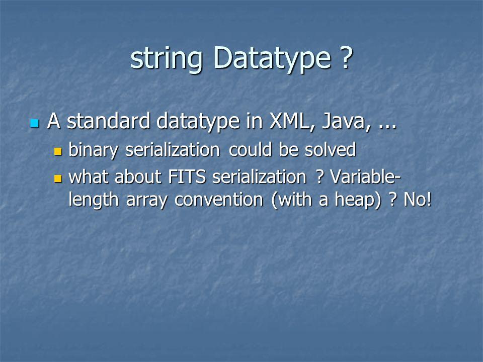 string Datatype . A standard datatype in XML, Java,...