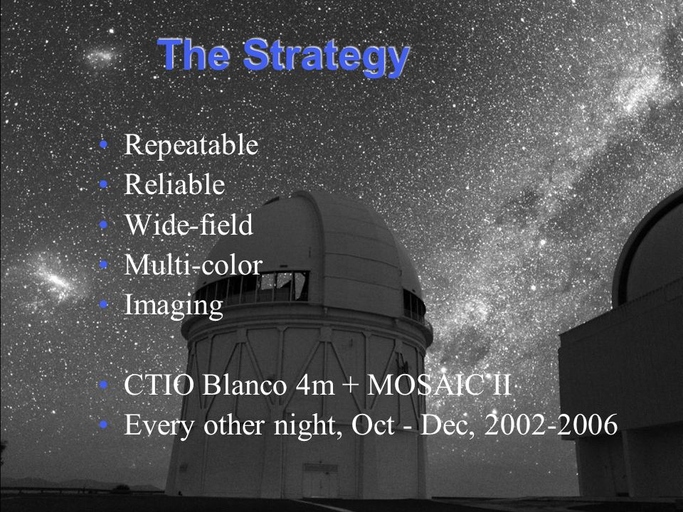 The Strategy Repeatable Reliable Wide-field Multi-color Imaging CTIO Blanco 4m + MOSAIC II Every other night, Oct - Dec, 2002-2006