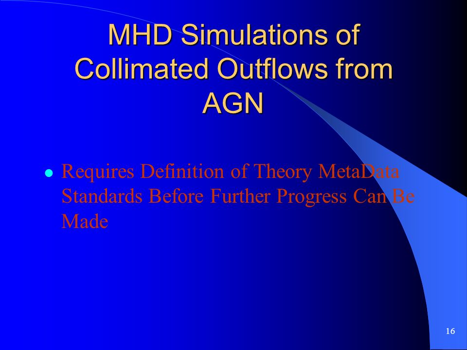 16 MHD Simulations of Collimated Outflows from AGN Requires Definition of Theory MetaData Standards Before Further Progress Can Be Made
