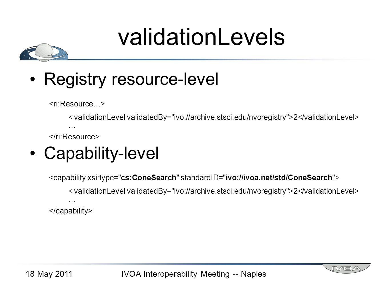 validationLevels Registry resource-level 2 … Capability-level 2 … 18 May 2011IVOA Interoperability Meeting -- Naples