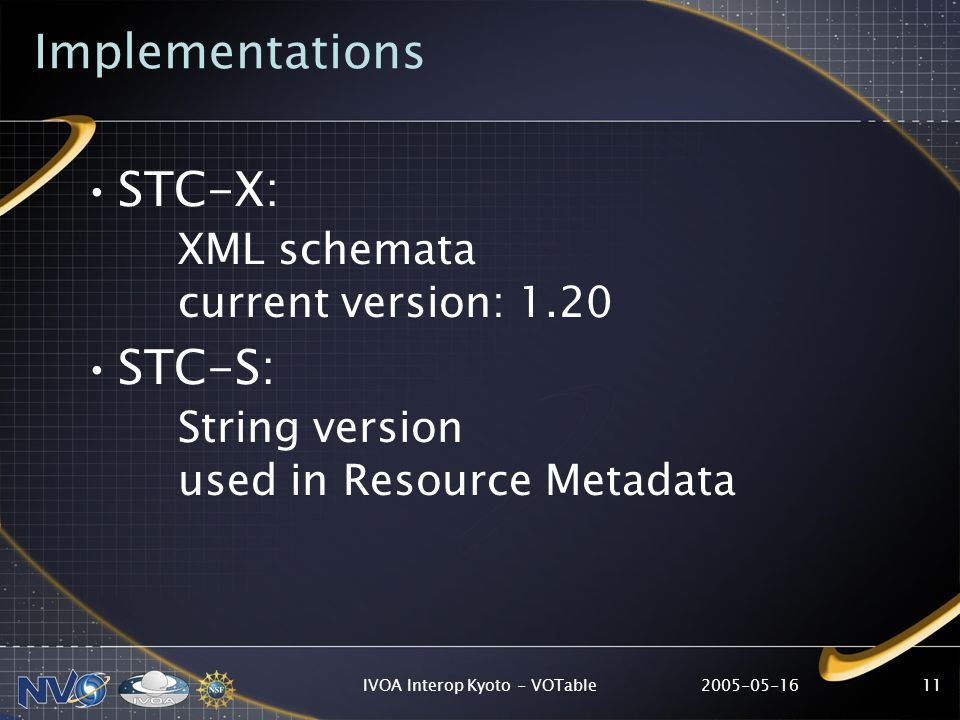 IVOA Interop Kyoto - VOTable11 Implementations STC-X: XML schemata current version: 1.20 STC-S: String version used in Resource Metadata