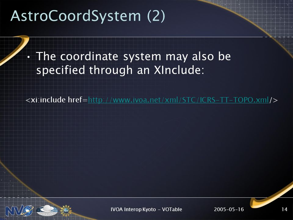 IVOA Interop Kyoto - VOTable14 AstroCoordSystem (2) The coordinate system may also be specified through an XInclude: