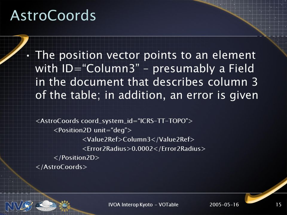 IVOA Interop Kyoto - VOTable15 AstroCoords The position vector points to an element with ID=Column3 – presumably a Field in the document that describes column 3 of the table; in addition, an error is given Column