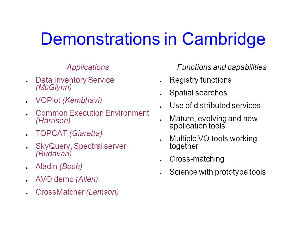 Demonstrations in Cambridge Applications Data Inventory Service (McGlynn) VOPlot (Kembhavi) Common Execution Environment (Harrison) TOPCAT (Giaretta)