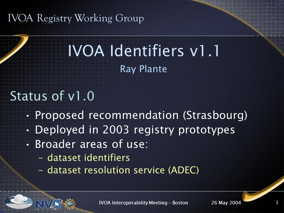 26 May 2004IVOA Interoperability Meeting - Boston1 IVOA Identifiers v1.1 Ray Plante IVOA Registry Working Group Status of v1.0 Proposed recommendation