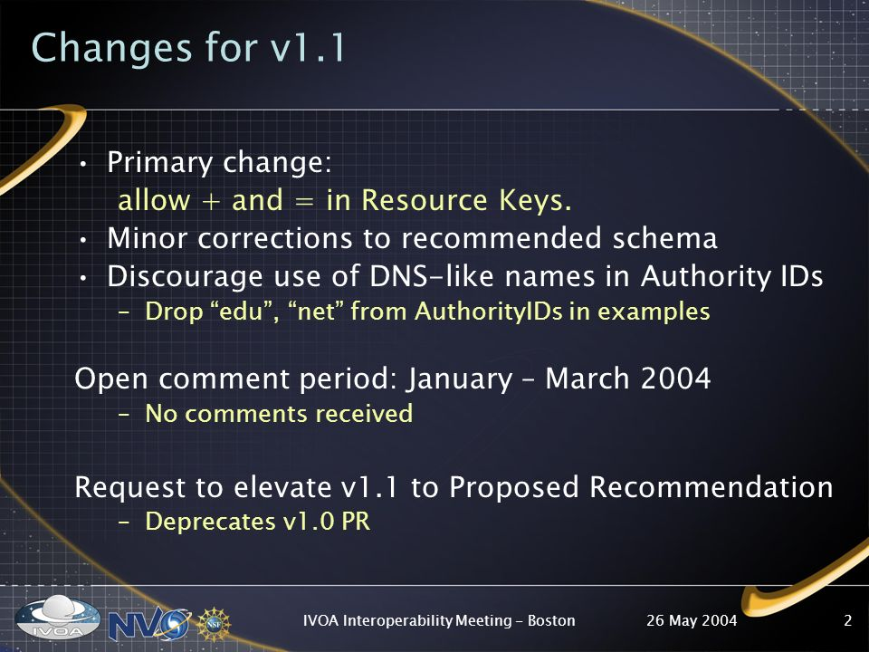 26 May 2004IVOA Interoperability Meeting - Boston2 Changes for v1.1 Primary change: allow + and = in Resource Keys. Minor corrections to recommended s