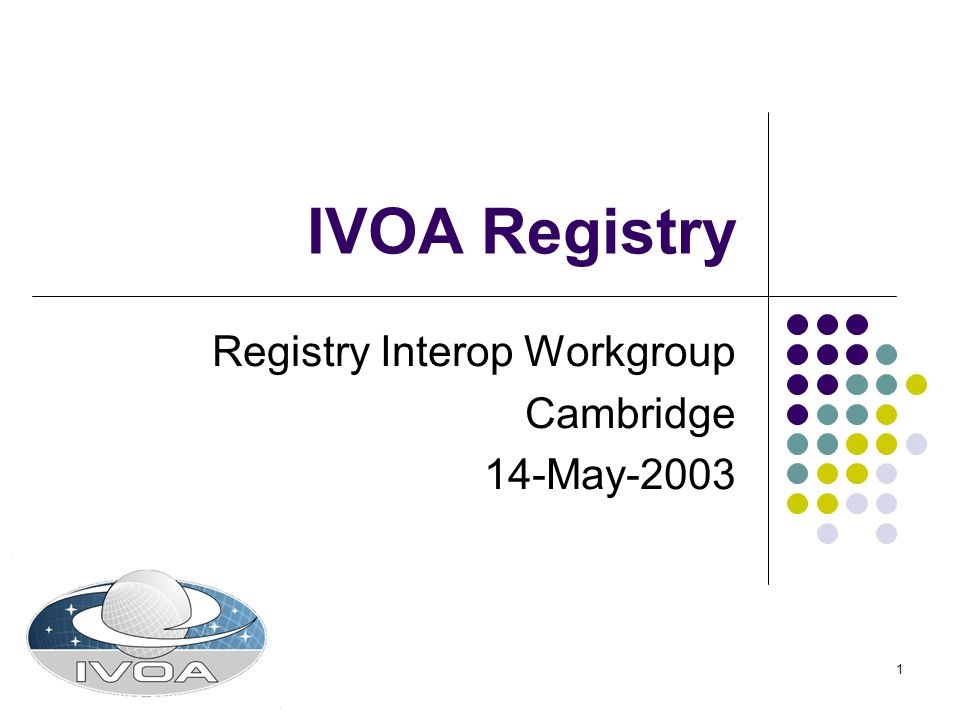 1 IVOA Registry Registry Interop Workgroup Cambridge 14-May-2003
