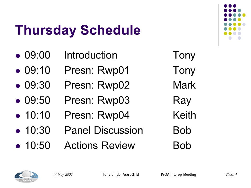 14-May-2003Tony Linde, AstroGridIVOA Interop MeetingSlide: 4 Thursday Schedule 09:00IntroductionTony 09:10Presn: Rwp01Tony 09:30Presn: Rwp02Mark 09:50Presn: Rwp03Ray 10:10Presn: Rwp04Keith 10:30Panel DiscussionBob 10:50Actions ReviewBob