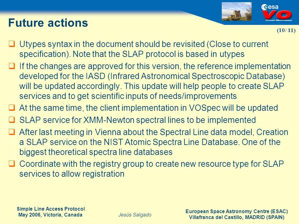 European Space Astronomy Centre (ESAC) Villafranca del Castillo, MADRID (SPAIN) Jesús Salgado Simple Line Access Protocol May 2006, Victoria, Canada (