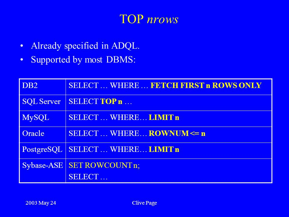 2003 May 24Clive Page TOP nrows Already specified in ADQL.