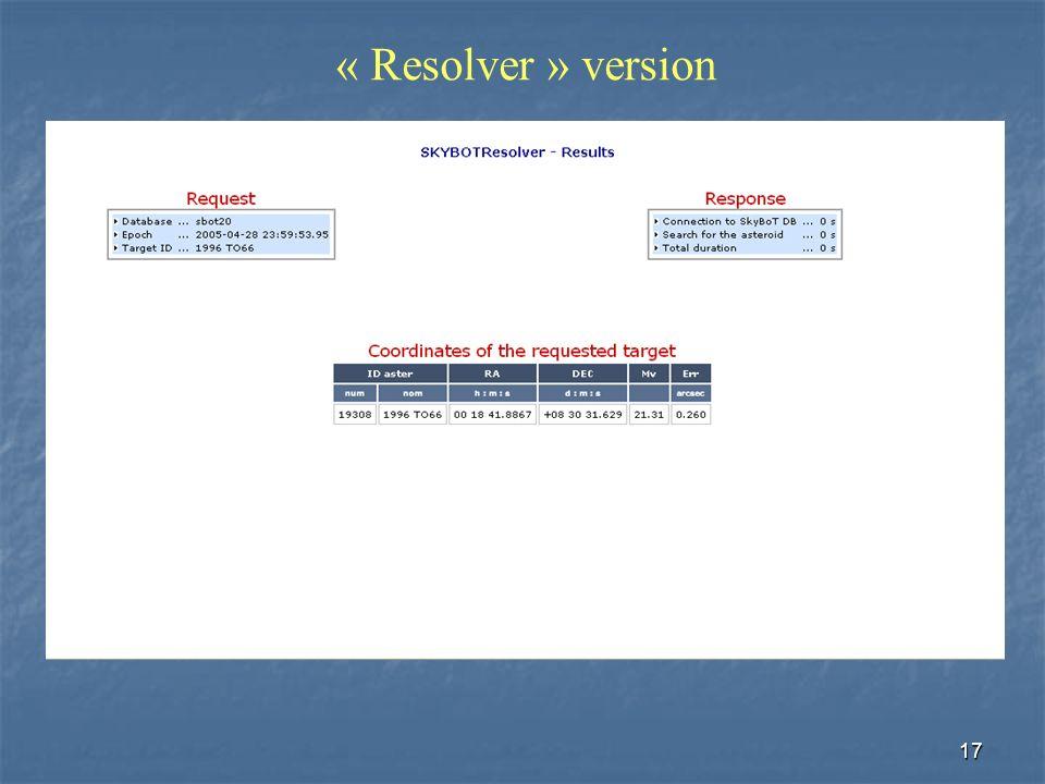 17 « Resolver » version