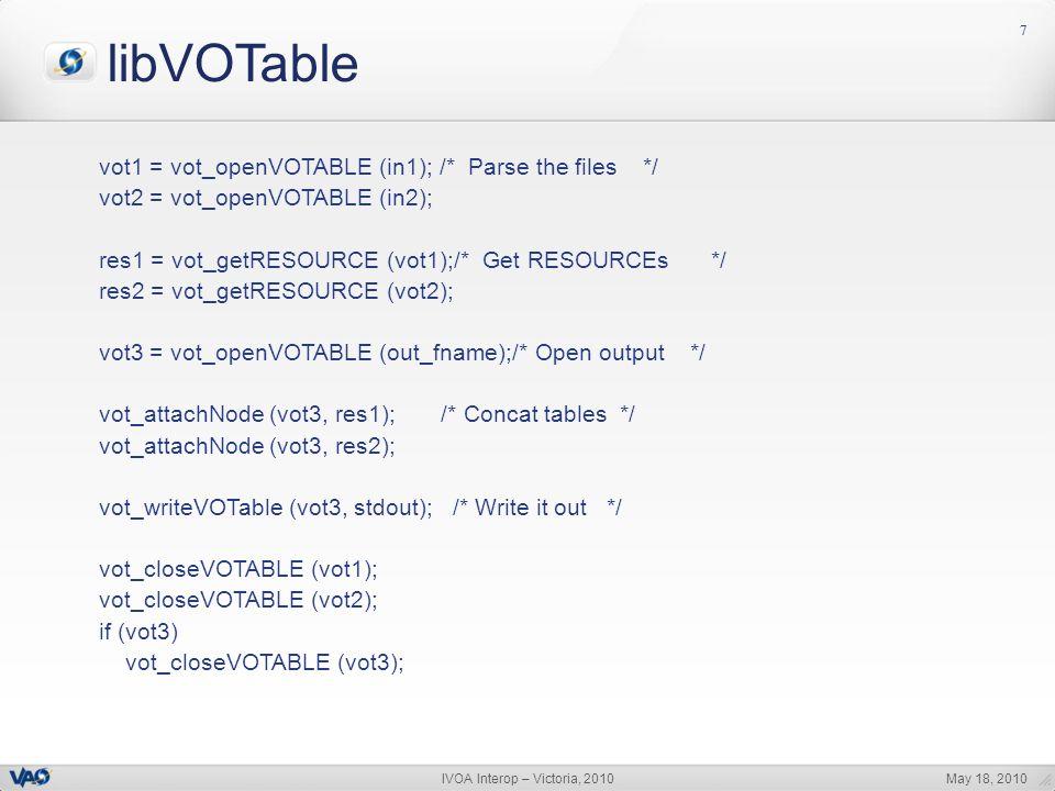 May 18, 2010IVOA Interop – Victoria, 2010 77 libVOTable vot1 = vot_openVOTABLE (in1); /* Parse the files */ vot2 = vot_openVOTABLE (in2); res1 = vot_getRESOURCE (vot1);/* Get RESOURCEs */ res2 = vot_getRESOURCE (vot2); vot3 = vot_openVOTABLE (out_fname);/* Open output */ vot_attachNode (vot3, res1); /* Concat tables */ vot_attachNode (vot3, res2); vot_writeVOTable (vot3, stdout); /* Write it out */ vot_closeVOTABLE (vot1); vot_closeVOTABLE (vot2); if (vot3) vot_closeVOTABLE (vot3);