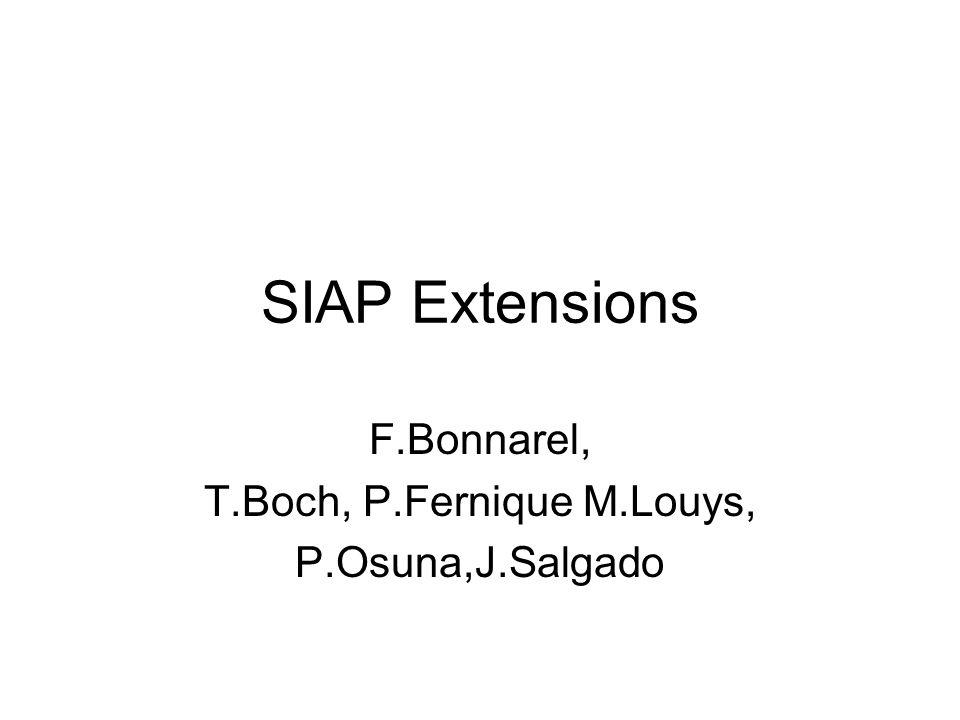 SIAP Extensions F.Bonnarel, T.Boch, P.Fernique M.Louys, P.Osuna,J.Salgado