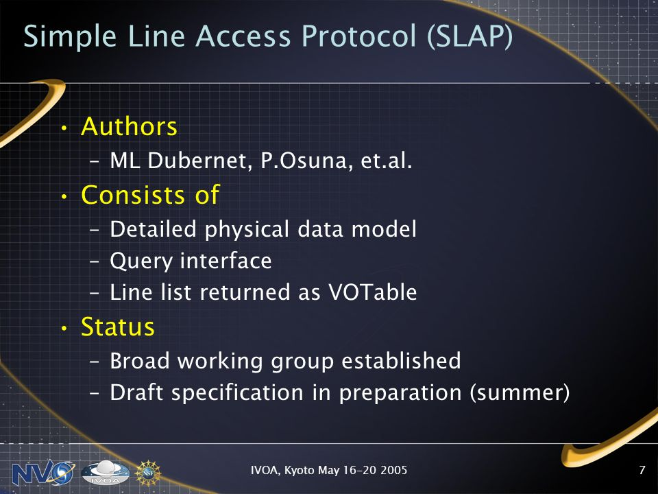IVOA, Kyoto May Simple Line Access Protocol (SLAP) Authors –ML Dubernet, P.Osuna, et.al.