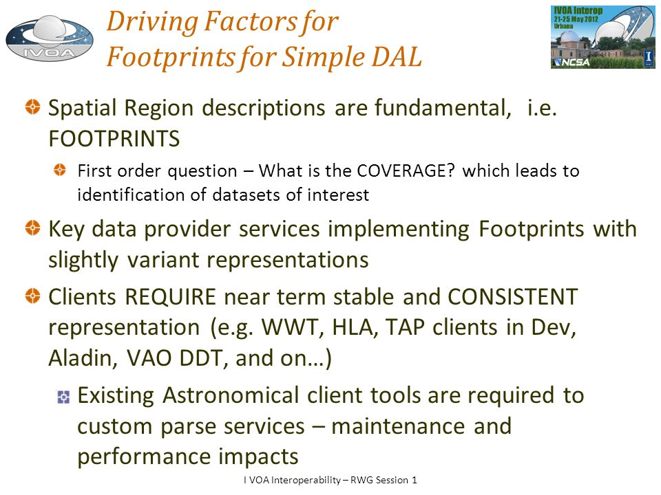 Driving Factors for Footprints for Simple DAL Spatial Region descriptions are fundamental, i.e.