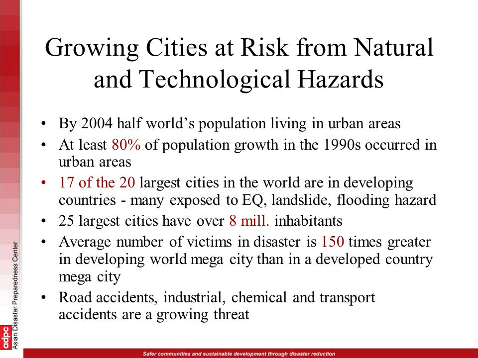 Cities are vulnerable to disaster risk because of - Rapid urbanization Rural - urban migration Growing population - already stretched resources Poor living standards - build without consideration of safety (time pressures) + in hazard prone areas Lack of public awareness to hazards/risks Building codes are poorly enforced or non-existent Environmental degradation - resource depletion - lowers resilience