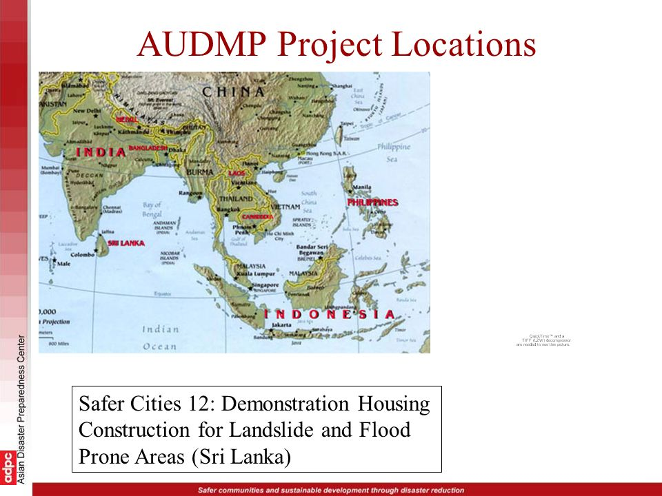 AUDMP Project Locations Safer Cities 12: Demonstration Housing Construction for Landslide and Flood Prone Areas (Sri Lanka)