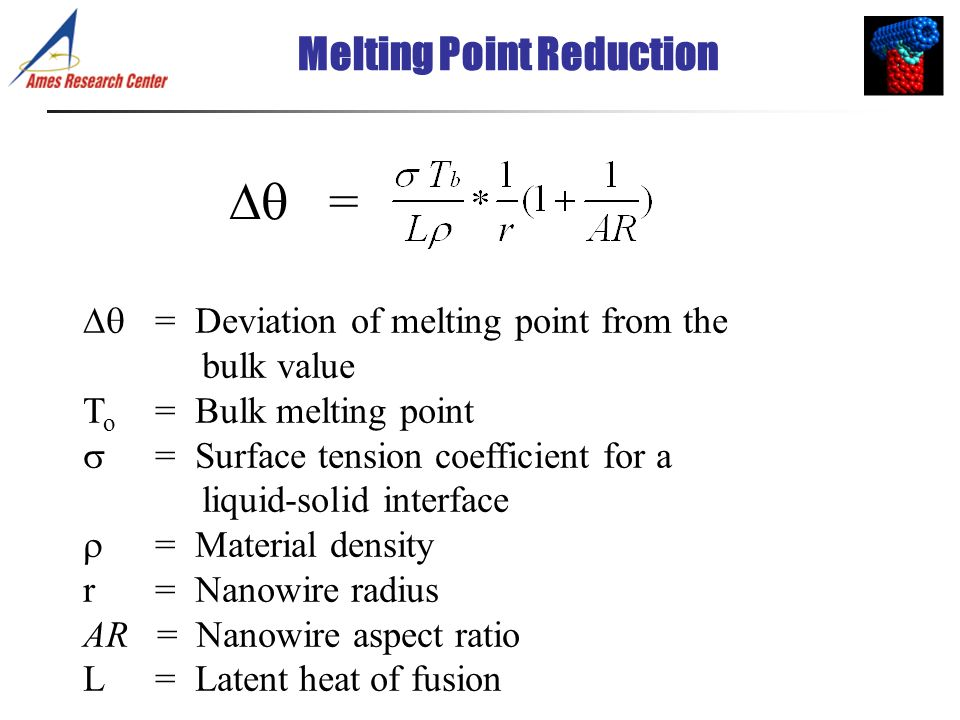 Melting Point Reduction = = Deviation of melting point from the bulk value T o = Bulk melting point = Surface tension coefficient for a liquid-solid i