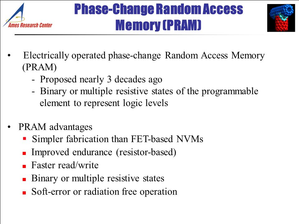 Electrically operated phase-change Random Access Memory (PRAM) - Proposed nearly 3 decades ago - Binary or multiple resistive states of the programmab
