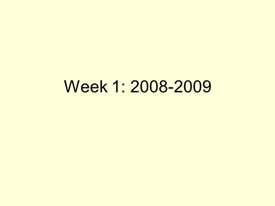 Week 1: 2008-2009