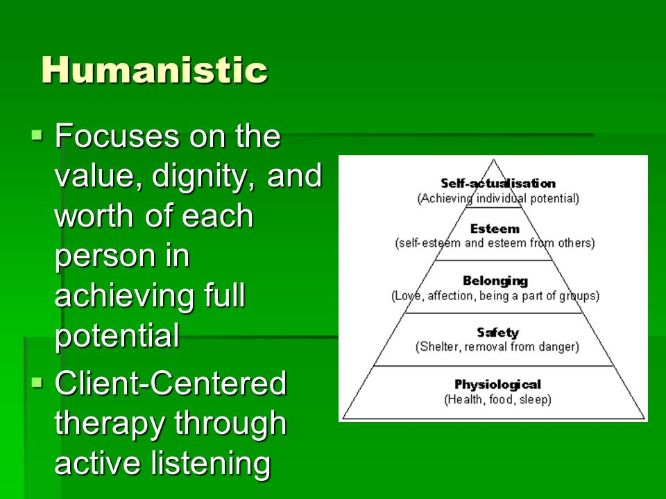 Humanistic Focuses on the value, dignity, and worth of each person in achieving full potential Focuses on the value, dignity, and worth of each person in achieving full potential Client-Centered therapy through active listening Client-Centered therapy through active listening