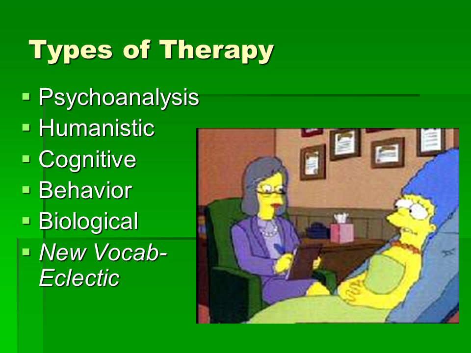 Types of Therapy Psychoanalysis Psychoanalysis Humanistic Humanistic Cognitive Cognitive Behavior Behavior Biological Biological New Vocab- Eclectic New Vocab- Eclectic