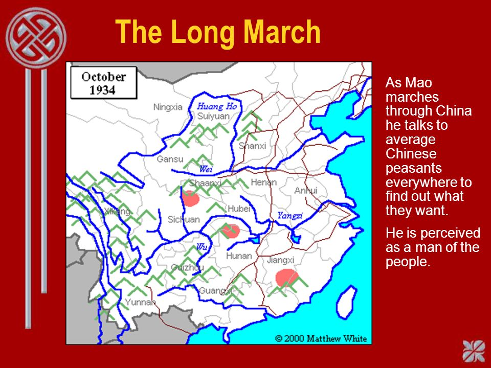 The Long March As Mao marches through China he talks to average Chinese peasants everywhere to find out what they want.