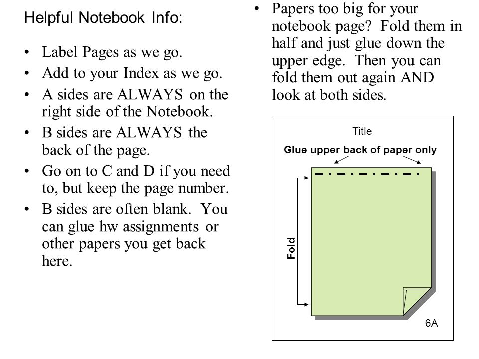 Helpful Notebook Info: Label Pages as we go. Add to your Index as we go. A sides are ALWAYS on the right side of the Notebook. B sides are ALWAYS the