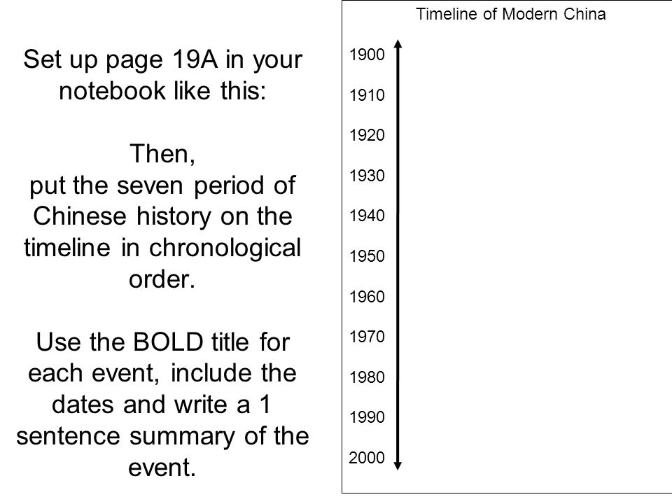 Set up page 19A in your notebook like this: Then, put the seven period of Chinese history on the timeline in chronological order. Use the BOLD title f