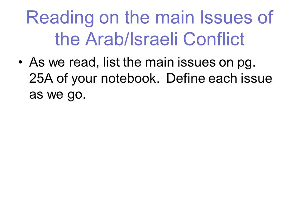 Reading on the main Issues of the Arab/Israeli Conflict As we read, list the main issues on pg. 25A of your notebook. Define each issue as we go.