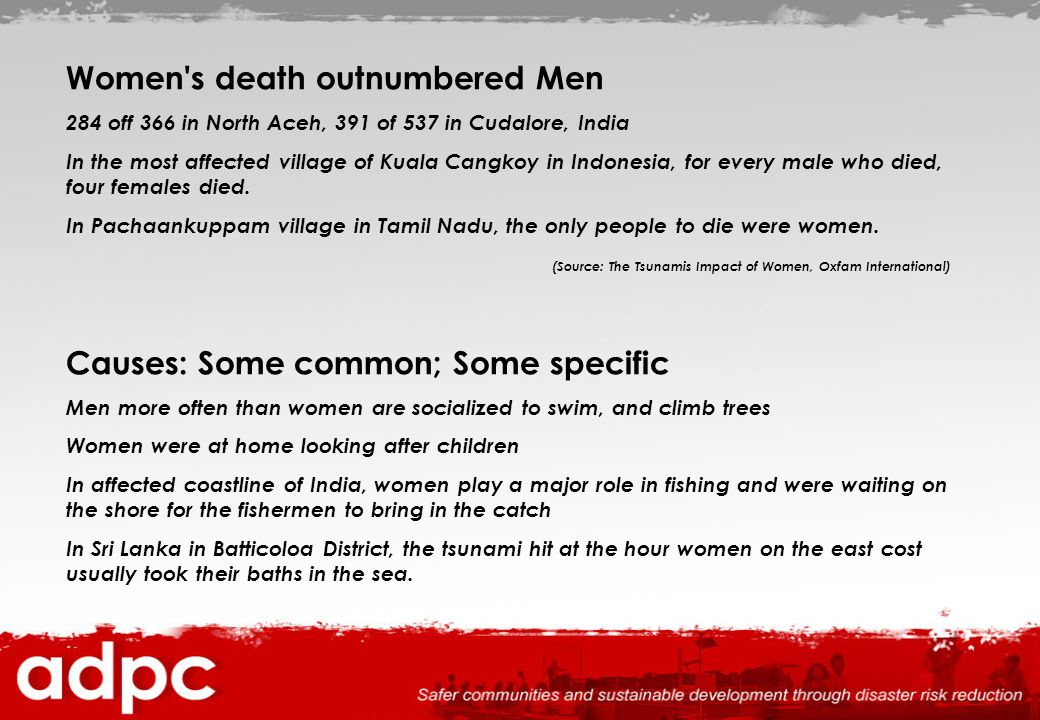 Women's death outnumbered Men 284 off 366 in North Aceh, 391 of 537 in Cudalore, India In the most affected village of Kuala Cangkoy in Indonesia, for