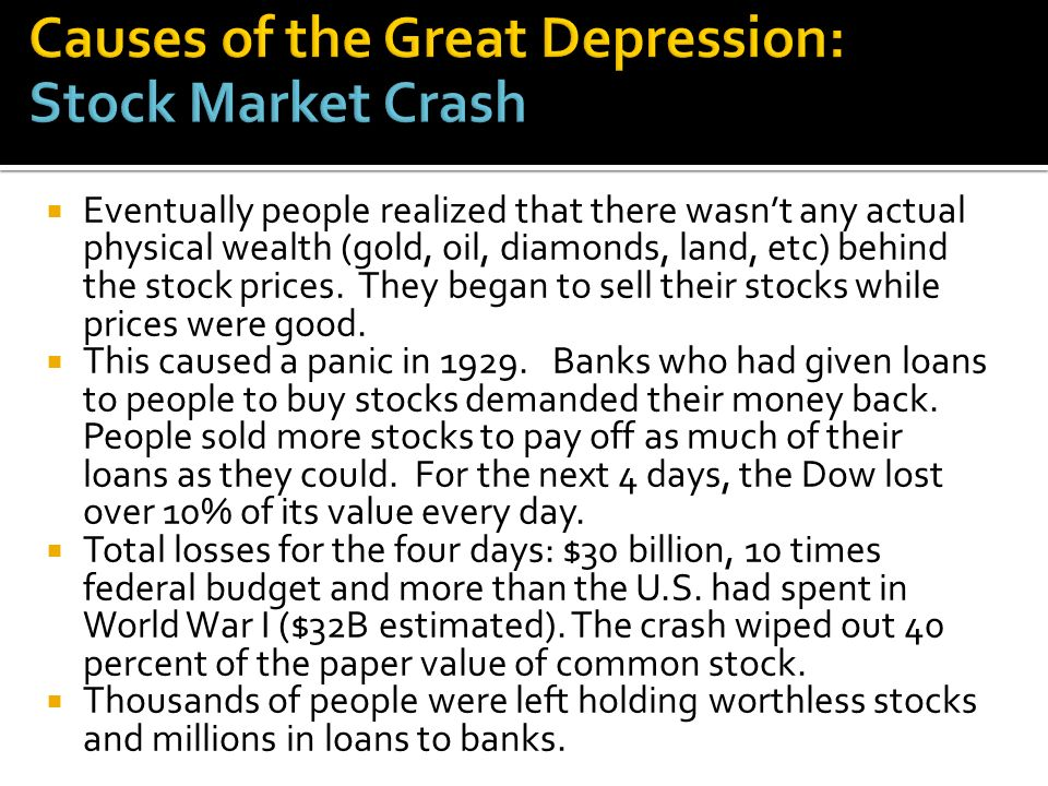Eventually people realized that there wasnt any actual physical wealth (gold, oil, diamonds, land, etc) behind the stock prices.
