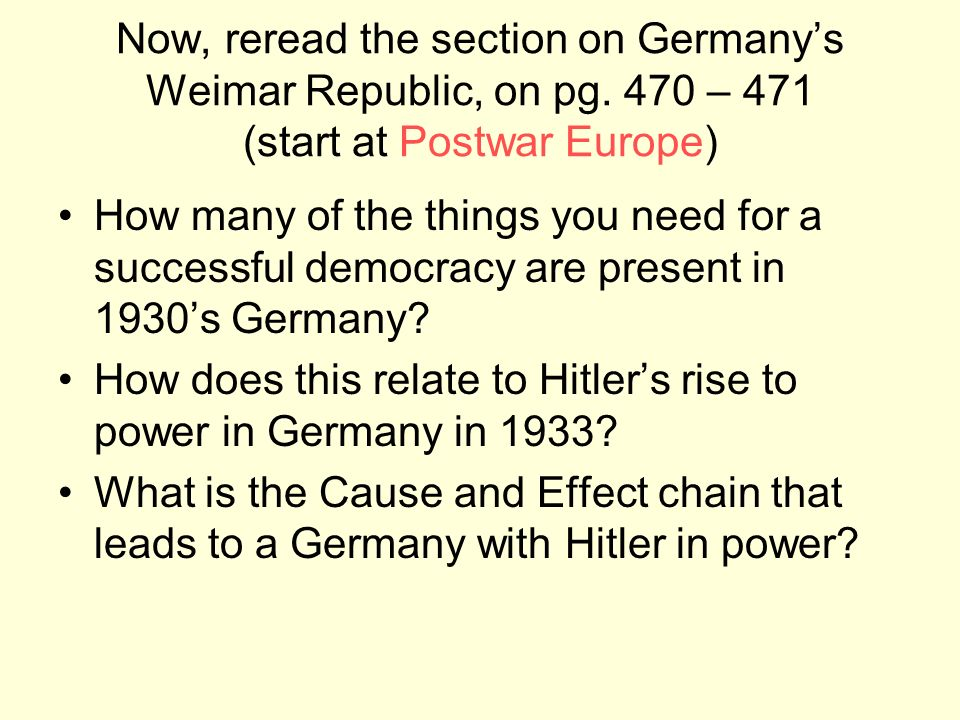 Now, reread the section on Germanys Weimar Republic, on pg. 470 – 471 (start at Postwar Europe) How many of the things you need for a successful democ