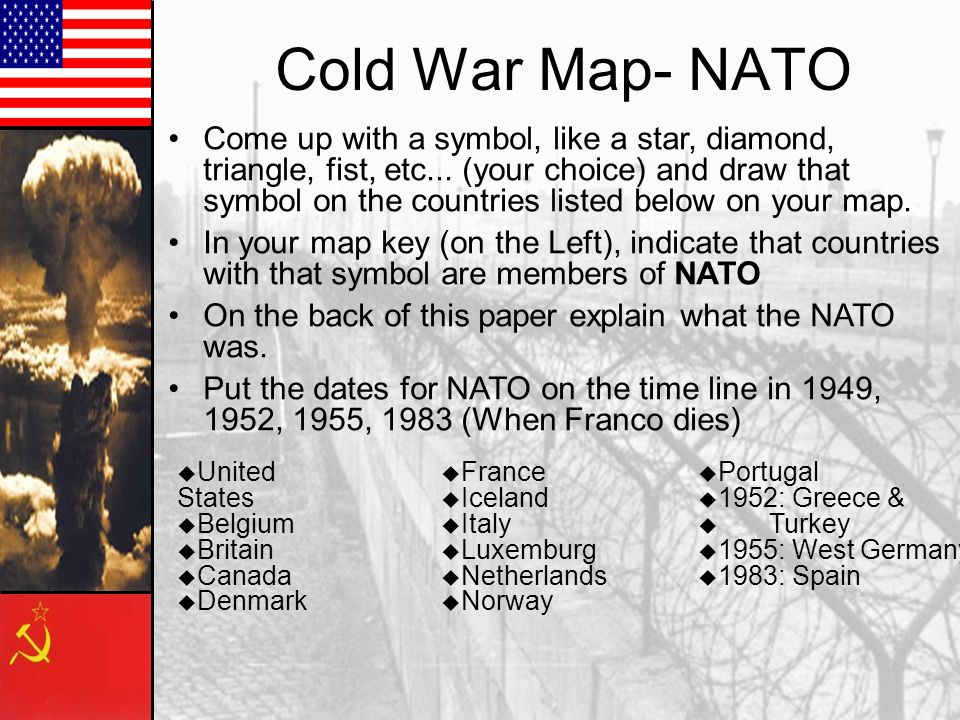 Cold War Map- NATO Come up with a symbol, like a star, diamond, triangle, fist, etc... (your choice) and draw that symbol on the countries listed belo