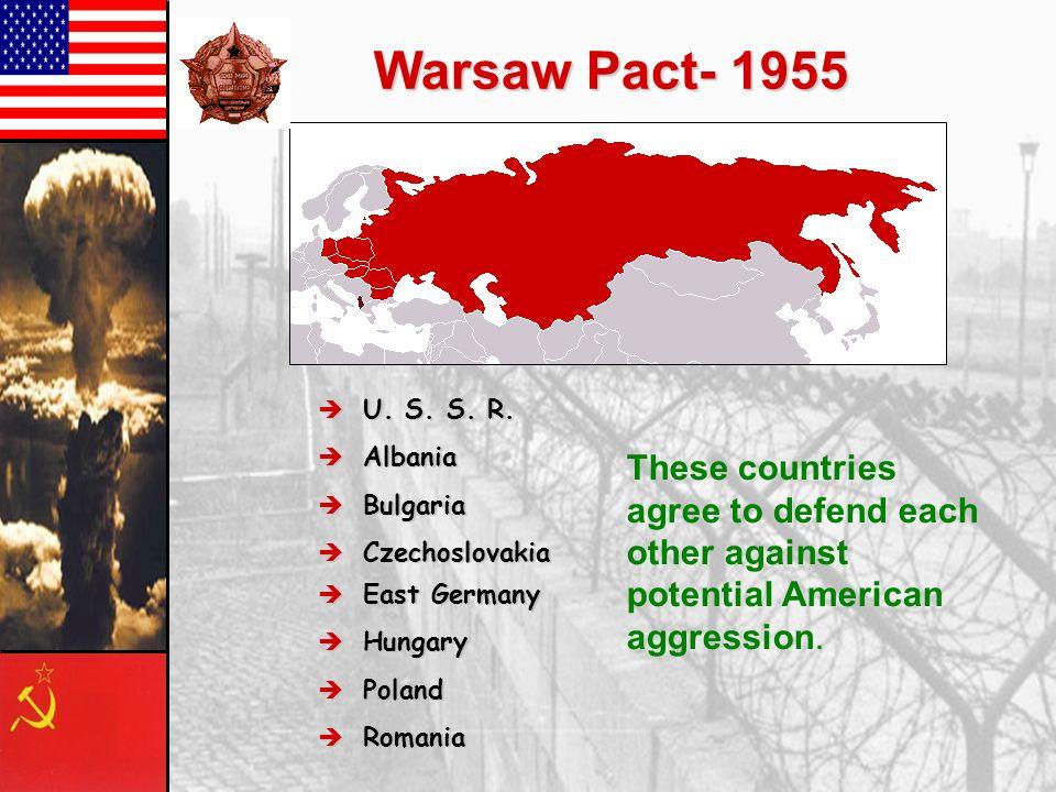 Warsaw Pact- 1955 U. S. S. R. U. S. S. R. Albania Albania Bulgaria Bulgaria Czechoslovakia Czechoslovakia East Germany East Germany Hungary Hungary Po