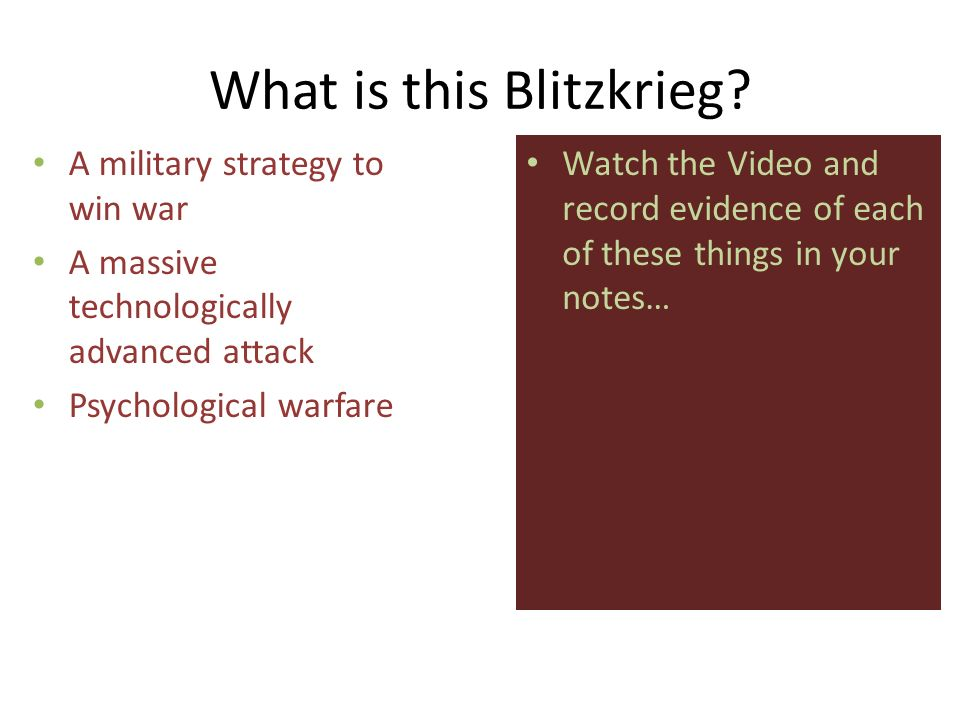 Poland Attacked: Sept. 1, 1939 Blitzkrieg [Lightening War] Where is THIS arrow coming from?!? O. Who is helping the Germans win in Poland? P. Why woul