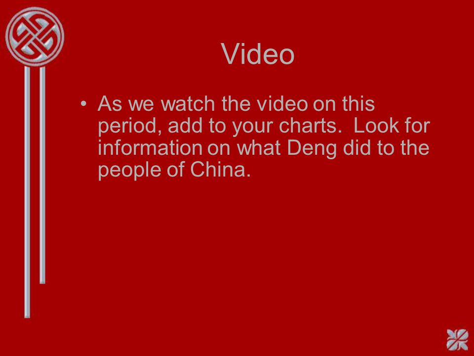 Video As we watch the video on this period, add to your charts.