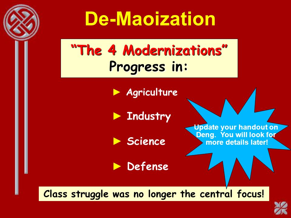De-Maoization Agriculture Industry Science Defense The 4 Modernizations Progress in: Class struggle was no longer the central focus.