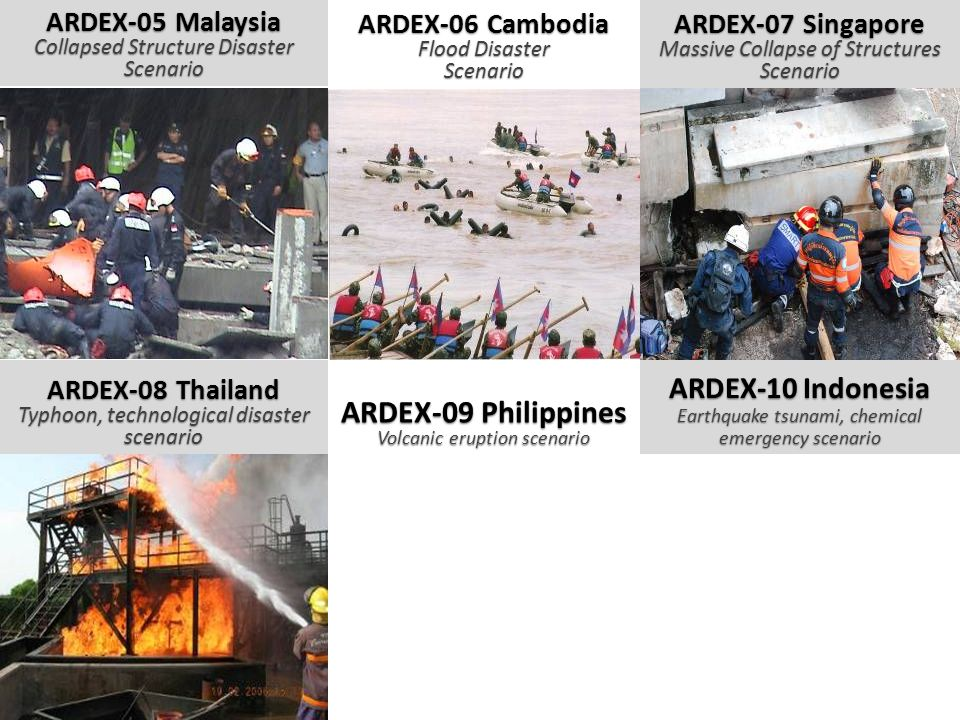 ARDEX-05 Malaysia Collapsed Structure Disaster Scenario ARDEX-06 Cambodia Flood Disaster Scenario ARDEX-07 Singapore Massive Collapse of Structures Sc