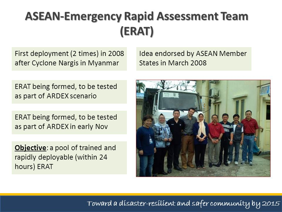 ASEAN-Emergency Rapid Assessment Team (ERAT) Idea endorsed by ASEAN Member States in March 2008 First deployment (2 times) in 2008 after Cyclone Nargi