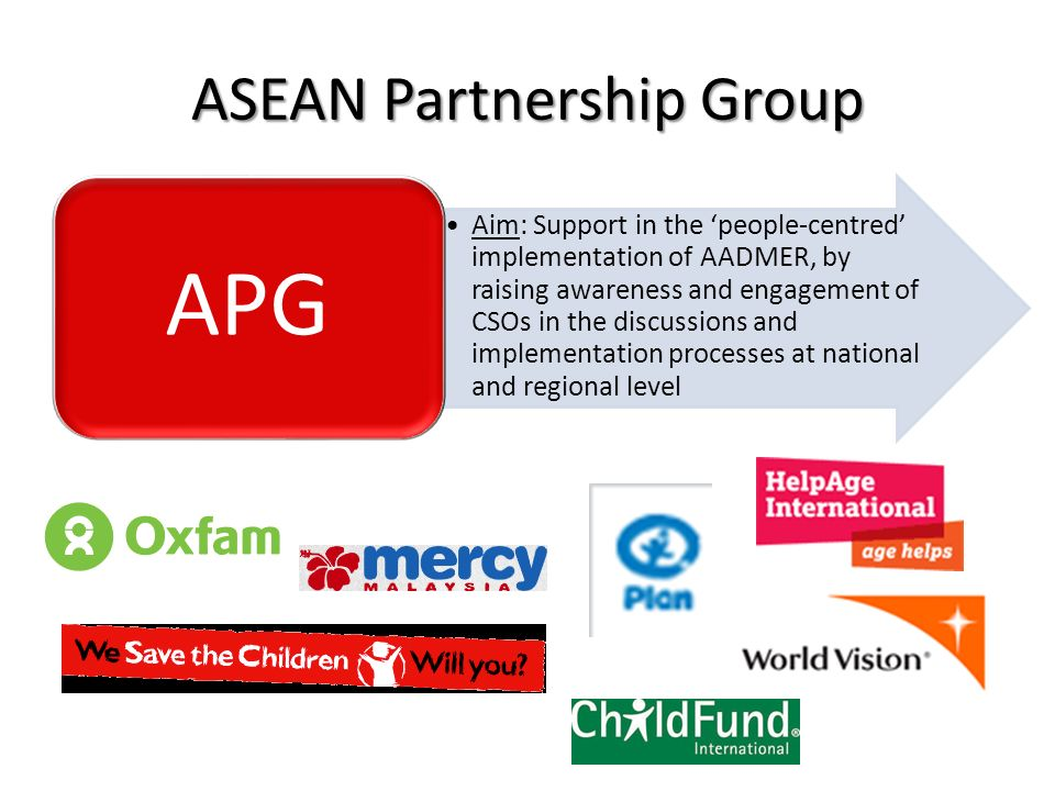 ASEAN Partnership Group Aim: Support in the people-centred implementation of AADMER, by raising awareness and engagement of CSOs in the discussions an