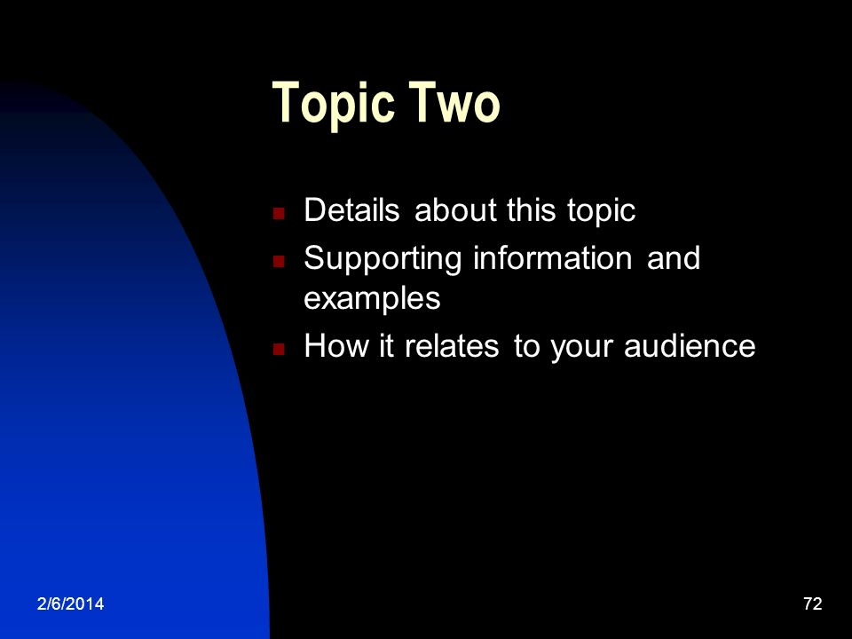 2/6/ Topic Two Details about this topic Supporting information and examples How it relates to your audience