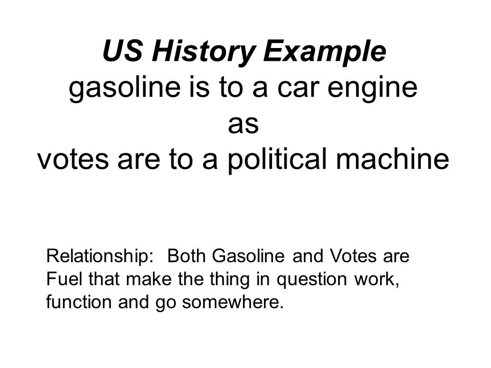 US History Example gasoline is to a car engine as votes are to a political machine Relationship: Both Gasoline and Votes are Fuel that make the thing